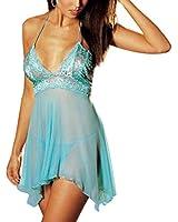 FENTI Lingerie Nuisette Sexy Transparent Femme Robe Vêtement de Nuit avec Cordon String Bretelle en Dentelle Peignoir de bain en Spandex-Taille M-XXXXL