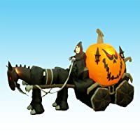 11.5 Foot Long Halloween Inflatable Skeleton Ghost Driving Carriage Huge Pumpkin Party Decoration