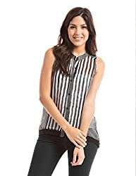 Prym Women's Body Blouse Shirt (1011516601_Black and White Stripe_Medium)