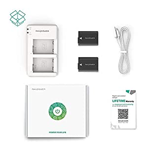 NP-FW50 RAVPower Camera Battery Charger Set and 2-Pack Replacement Batteries Compatible with Sony a6000, a6400, a6300, a6500, a7ii, a7rii, a7sii, a5100 (Color: White)