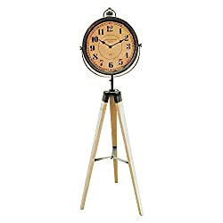 The Old World London Analog Clock, Tripod Stand, Vintage Style, Distressed Wood, Rustic Gray White, Quartz Movement, 1 AA battery required (not included) Over 3 1/3 Ft Tall, By Whole House Worlds