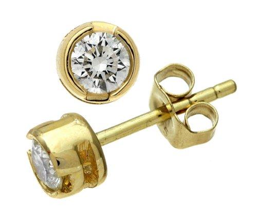 9ct Yellow Gold Rub Set Quarter Carat Diamond Earrings