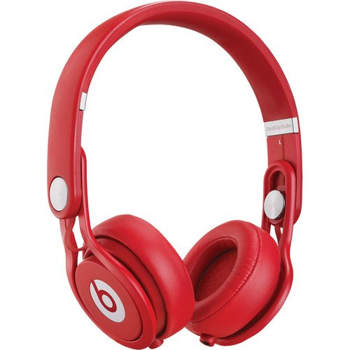 Beats By Dr. Dre Mixr Lightweight Dj Headphones (Red) Bundle With Beats Cable With Microphone And Custom Designed Zorro Sounds Cloth