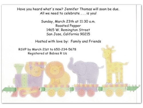 Animal Train Baby Shower Invitations - Set of 20