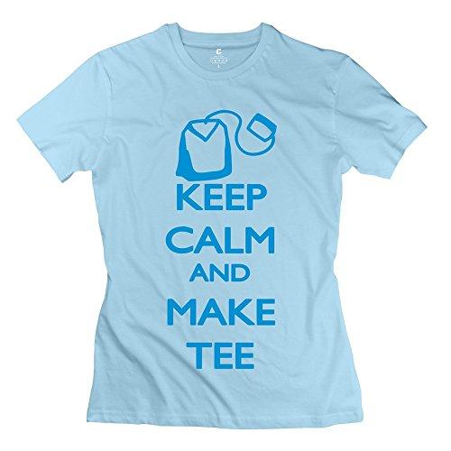 Enocho Women'S Keep Calm Tee T-Shirt - L Skyblue