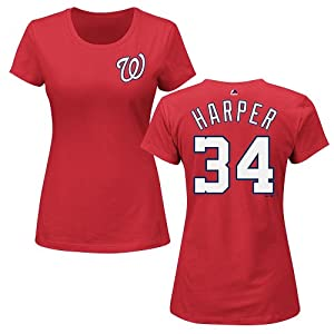 Bryce Harper #34 Washington Nationals MLB Ladies Player T-Shirt - Red by Majestic