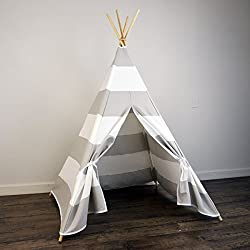 Kids Teepee Tent in Light Gray White Stripe - Includes Large Stripe Canvas Teepee and Wooden Poles. Great Gift Idea for Boys or Girls Birthday Sleepover Party and Playroom Decor. Perfect Luxury Indoor Play House for Kids. Made in USA. Your Child Will Absolutely LOVE this Teepee - Guaranteed