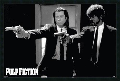 Framed Art Print, 'Pulp Fiction - Duo Guns': Outer Size 37 x 25