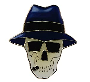 skull fedora shades cool biker hat or lapel