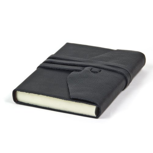 Deluxe Leather Journal Hand Made In Italy, 5x7 inch (Black)
