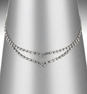 2 Row Diamanté V Necklace