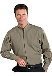 Edwards Garments Men's Long Sleeve Banded Collar Shirt Large WILLOW GREEN