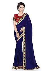 Indianbeauty Women's Solid & Printed Chiffon Saree (INDIANBEAUTY-AS1019_Blue)