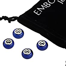 Silver Peacock Blue Round Large Hole Beads Set - Best Accessories to Create Jewelry for Women Girls
