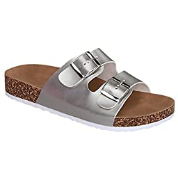 Women\'s Casual Buckle Straps Flip Flop Footbed Sandals (Silver-41) 10 US