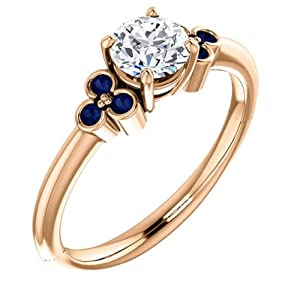 14K Rose Gold Round Cut Diamond and Sapphire Engagement Ring