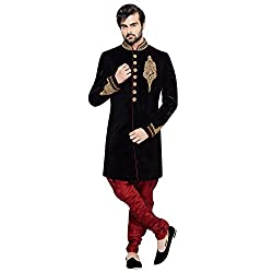 EthnicCrush Black Velvet Embroidered Sherwani