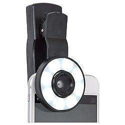 Jo Jo Twinkle Ring Mini Selfie Fill Light [Adjustable Brightness] [3 Filter] Portable Spot Round Ring Spotlight Clip Phone Flash 8 LEDS Night Flashlight For Sharp Black