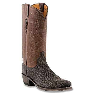 Lucchese Men's Handcrafted 1883 Sanded Shark Cowboy Boot Snip Toe Chocolate US