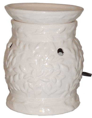 Electric Wax Warmer, Electric Candle, Decorative White Ceramic Wax Melter Uses Lower Power, High Heat Halogen Light
