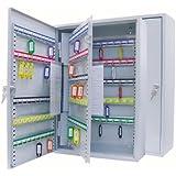 Schlüsselschrank für 200 Haken, pulverbeschichtetes Stahlblech 38 x 14 x 55 cm, Sicherheitsschloss inklusive 2 Schlüssel, Hakenleiste individuell verstellbar, lichtgrau