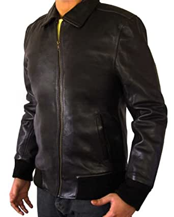 Fonzie Brown Bomber Leather Jacket for Men (XS)