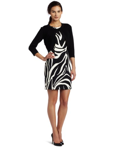 AGB Women's Two Piece Set Printed Dress and Cardigan