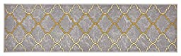 Trellis Design Printed Slip Resistant Rubber Back Latex Runner Rug and Area Rugs 3 Color Options Available (Grey, 23\