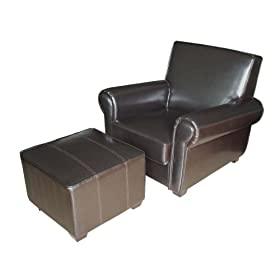 Amazon - Global Distinctions Leather Lounge Chair w/Ottoman - $299.99