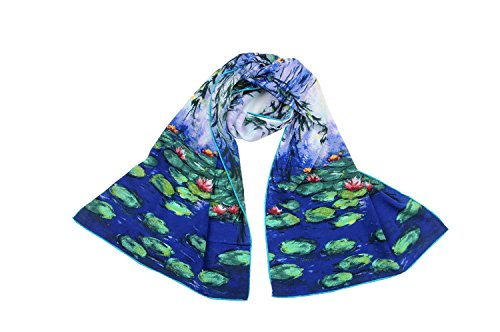 """Luxurious 100% Charmeuse Silk Long Scarf Shawl Claude Monet s """"Willow Tree …"""