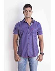Sting Blue Checks Slim Fit Casual Shirt - B00ROWRR4E