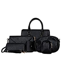 High quality P.U Black Stylish Trendy Glory Fashionable shoulder cross body mobile wallet clutch cosmetic unifree Women Hand Bag Set