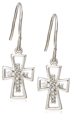 Sterling Silver Diamond Cross Earrings (1/10 cttw)