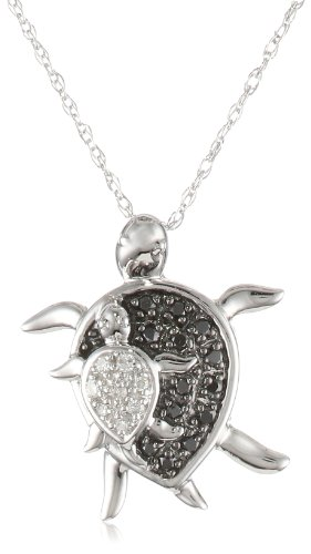 XPY 10k White Gold Mother and Baby Turtle Diamond Pendant Necklace (0.08 cttw, I-J Color, I2-I3 Clarity), 18""