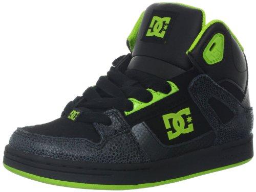 Dc Rebound Se Skate Shoe (Little Kid/Big Kid),Black/Green Flash,12 M Us Little Kid