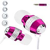 IN EAR EARPHONES HEADPHONE METAL NOISE ISOLATING FOR MP3 IPOD IPHONE 4 5 PINK