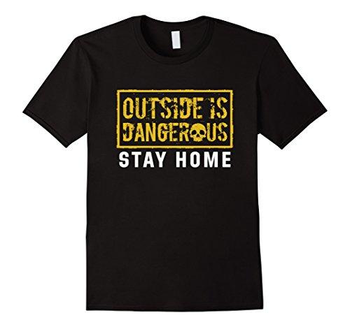 Mens-EmmaSaying-Outside-Is-Dangerous-Skull-Design-Cool-T-Shirt-Black