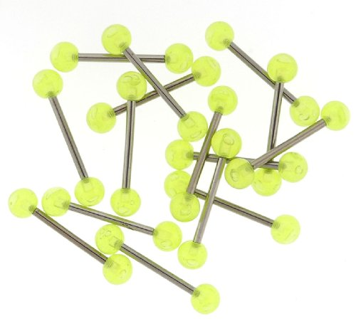 6MM Glow in the Dark Bubble Ball Barbells - Green - 16MM Length - 14G - Sold Individually