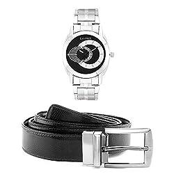 Laurels Men's Belt And Watch Combo (Black,Brown) (Polo-702 BT-01)
