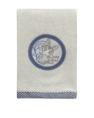 Creative Bath Seaside Fingertip Towel, Beige/Blue