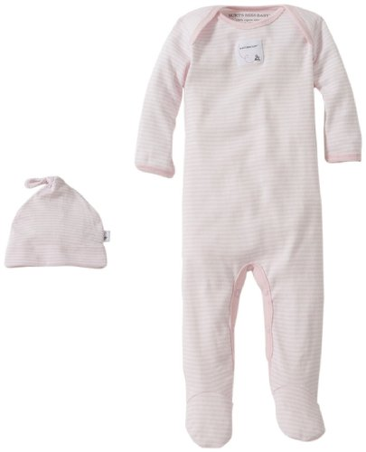 Burt's Bees Baby Baby Girls' Striped Footed Coverall & Hat Set (Baby)-Blossom