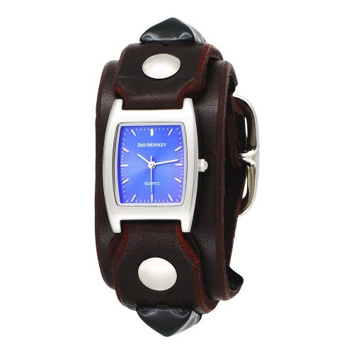 Red Monkey Designs Unisex RM159RBLA2 Rebel 2 Brown Leather Blue Dial Watch Picture