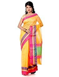 B3Fashion Traditional Banarasi Supernet Saree With Pink Floral Weaved And Zari Broad Border