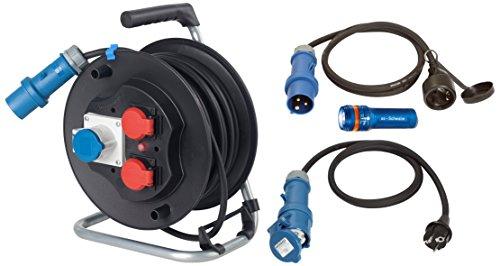 as-Schwabe-Camping-Set-25-m-CEE-Kabeltrommel-2-x-Adapter-Leitung-zwischen-230-V-Schutzkontakt-und-Taschenlampe-XT-1-schwarz-19600