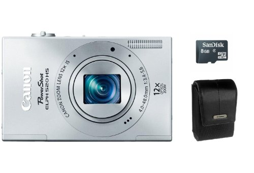41xU9d5gIyL Canon PowerShot ELPH 520 HS 10.1 MP Digital Camera 12x Optical Image Stabilized Zoom 28mm Wide Angle Lens and 1080p Full HD Video Recording (Silver) Accessory Package