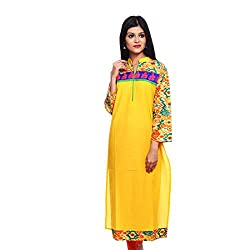 Saamarth Impex Women Cotton Yellow Color embroidery Work Collar Neck Long Straight Style Kurti SI-2859