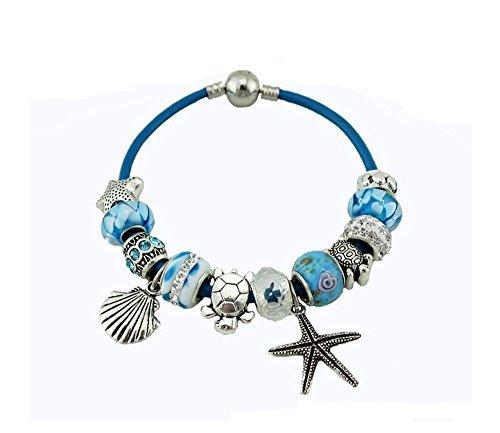 bracelet-charmes-de-bijoux-theme-de-locean-cordon-en-cuir-bleu-avec-etoile-de-mer-coquillage-tortue-