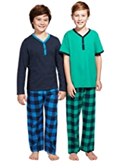 2 Pack Pure Cotton Y-Neck Checked Pyjamas