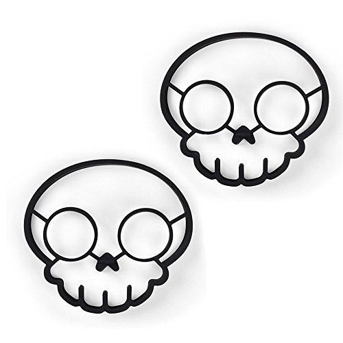 Wootop-Black Silicone Skull Shaped Egg Ring 100% Food Grade Silicone, Set Of 2