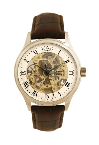 Rotary Men's Mechanical Watch with White Dial Analogue Display and Brown Leather Strap GS02519/09